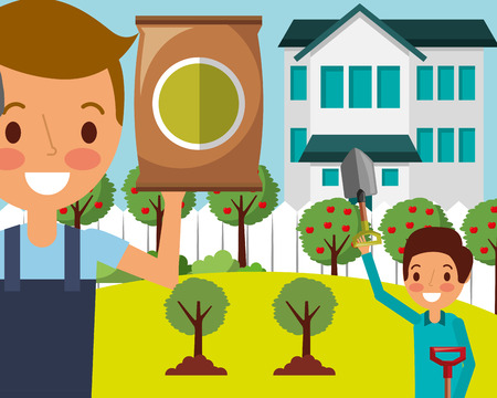man and boy in the house garden with shovel and fertilizer vector illustration