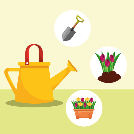 watering can shovel potted flowers gardening vector illustration