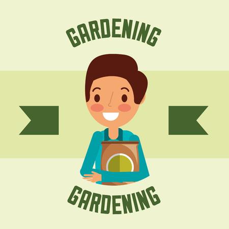 gardener man character fertlizer pack gardening vector illustration
