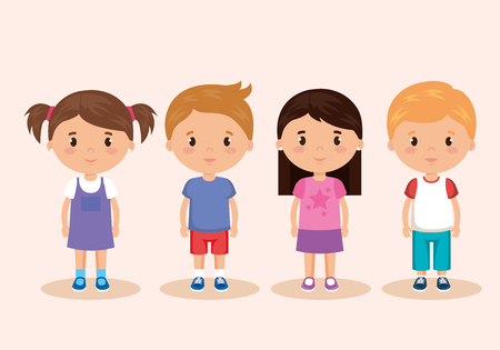 cute and little kids group vector illustration design