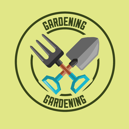 fork and shovel tools label gardening vector illustration
