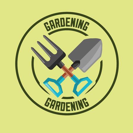 fork and shovel tools label gardening vector illustration
