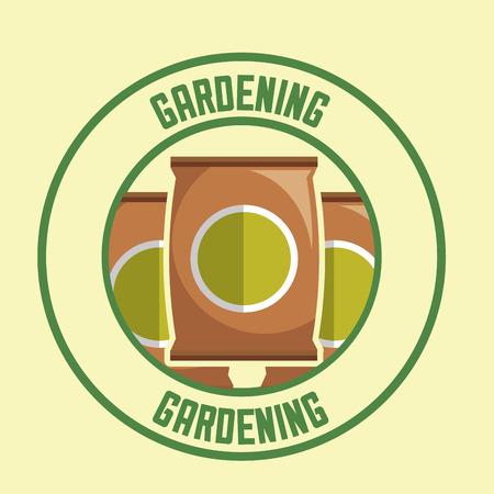 potting soil packages tool label gardening vector illustration