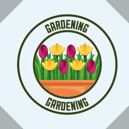 potted flowers natural label gardening vector illustration