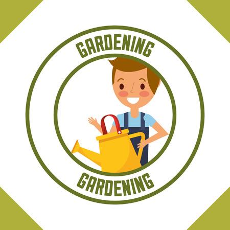 gardener boy holding watering can label gardening vector illustration