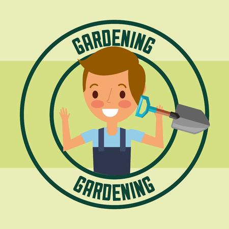 gardener boy holding shovel tool label gardening vector illustration
