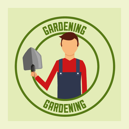 gardener man with shovel tool label gardening vector illustration