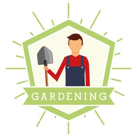 gardener man with shovel emblem gardening vector illustration Иллюстрация