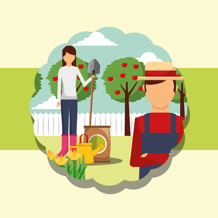 gardeners man and woman shovel fertlizer watering can gardening vector illustration Banque d'images - 111986117