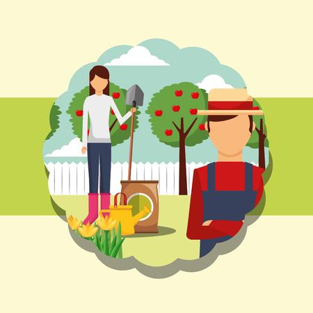 gardeners man and woman shovel fertlizer watering can gardening vector illustration