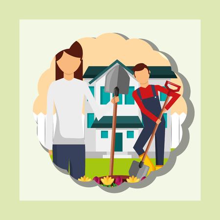 gardener woman and man working garden house gardening vector illustration Stockfoto - 111986121