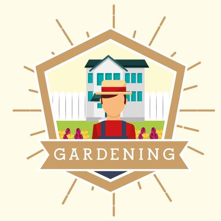 gardener man with hat house garden flowers gardening vector illustration Illustration