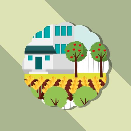 garden house flowerbed apple trees gardening vector illustration