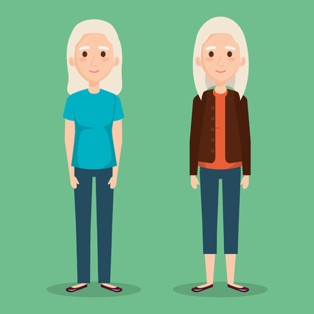 cute grandmothers avatars characters vector illustration design