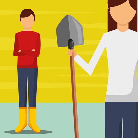 gardeners man and woman with shovel vector illustration