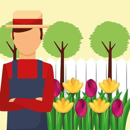 gardener man with hat flowers tree landscape vector illustration Banco de Imagens - 106459495