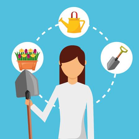 gardener woman with shovel watering can gardening vector illustration
