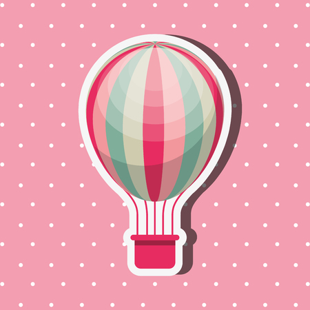 bike repair and shop pink dotted background hot air balloon vector illustration Stock Photo