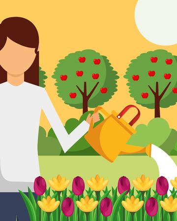 gardener woman watering flowersbed and apple trees gardening vector illustration