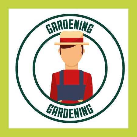 gardener man with hat label gardening vector illustration