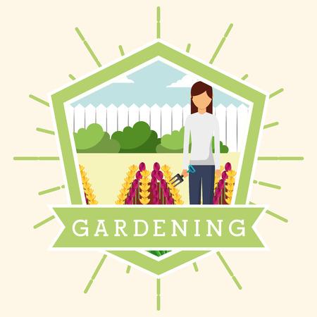 gardener woman working in flowerbed gardening vector illustration