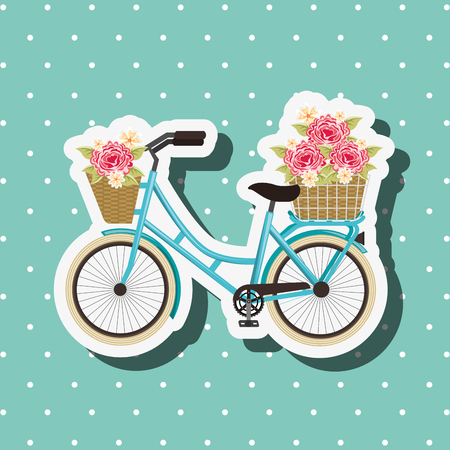 bike repair and shop dotted background flowers bicycle vector illustration
