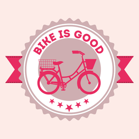 bike repair and shop ribbon label sign pink bicycle vintage style background vector illustration Stock Illustration - 106459525