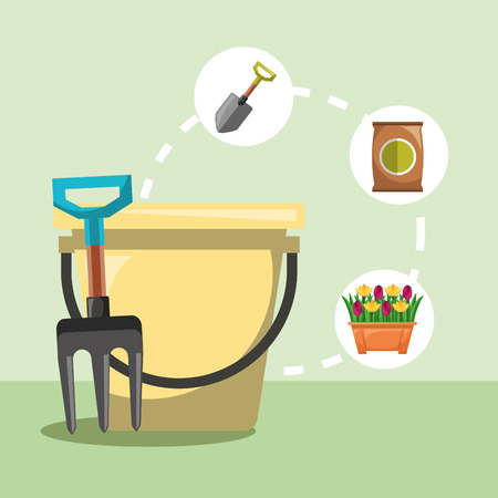 gardening bucket fork shovel flowers vector illustration Фото со стока