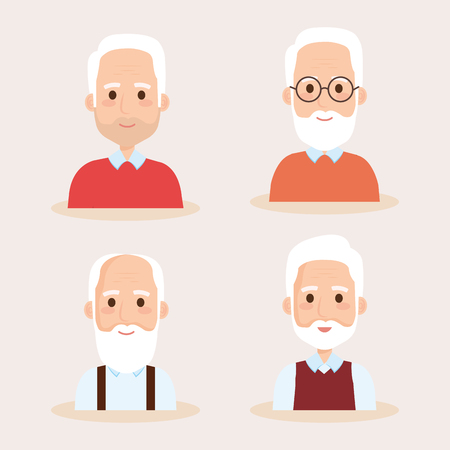 cute grandfathers avatars characters vector illustration design Imagens - 106459585