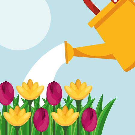 watering can flowers care gardening vector illustration