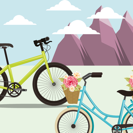 bike repair and shop clouds mountains flowers biycles vector illustration Stock Photo