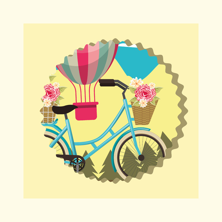 bike repair and shop label colors hot air balloon flowers bicyle vector illustration