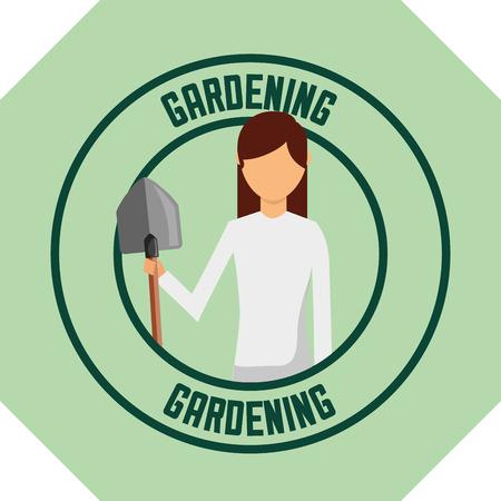 gardener woman with shovel tool label gardening vector illustration