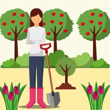 gardener woman planting tree with shovel gardening vector illustration Stock Photo