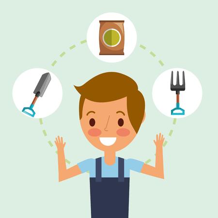 happy gardener boy wyth shovel fork and fertlizer vector illustration Reklamní fotografie
