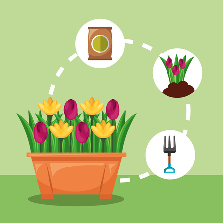 potted flowers fork flowers and fertilizer gardening vector illustration
