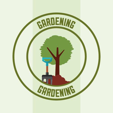 tree and pitchfork tool label gardening vector illustration