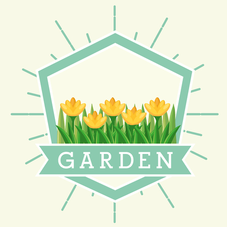 beautiful yellow flowers nature emblem garden vector illustration