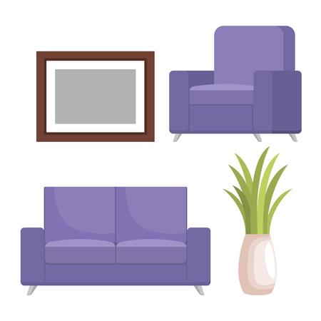 living room scene icons vector illustration design Archivio Fotografico - 106441976