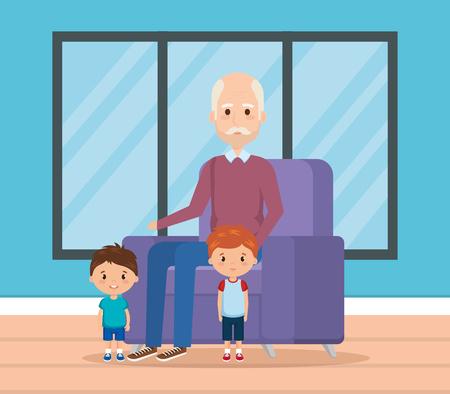 grandpa and geandchildren in the livingroom vector design
