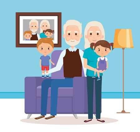 grandparents with grandchildren in the livingroom vector  イラスト・ベクター素材