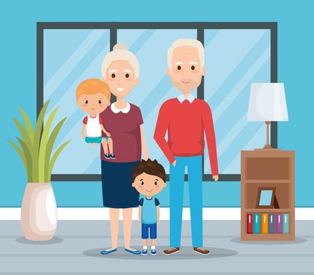 grandparents with grandchildren in the livingroom vector Çizim