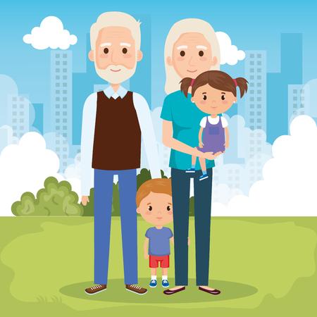 grandparents with grandchildren in the park vector illustration