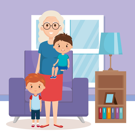 grandma and geandchildren in the livingroom vector design Illustration