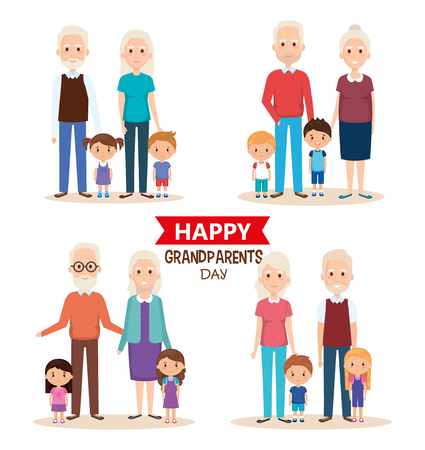 cute grandparents couple with grandchildren vector illustration 스톡 콘텐츠 - 111986139