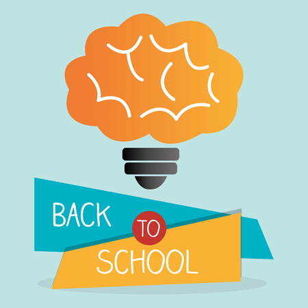 back to school label with brain storming vector illustration
