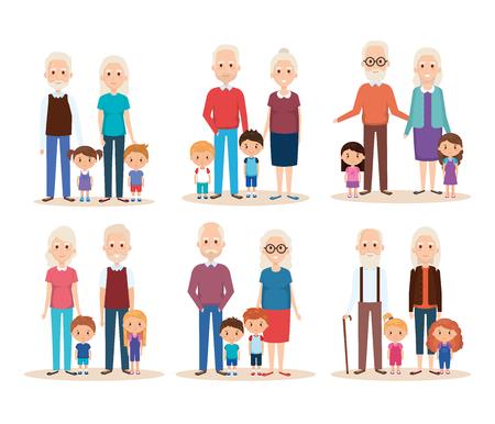 cute grandparents couple with grandchildren vector illustration