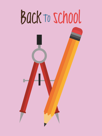 back tom school label with compass vector illustration design