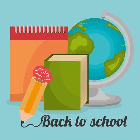 back to school label with world planet vector illustration design Ilustracja