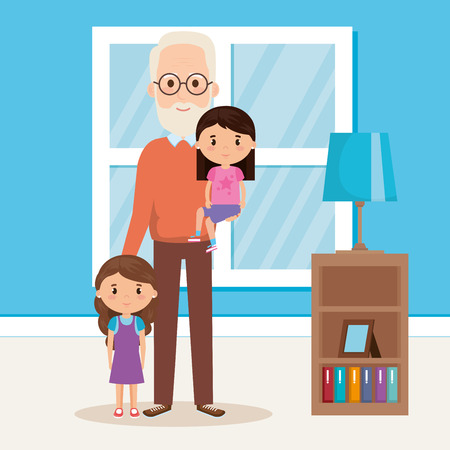 grandpa and geandchildren in the livingroom vector design